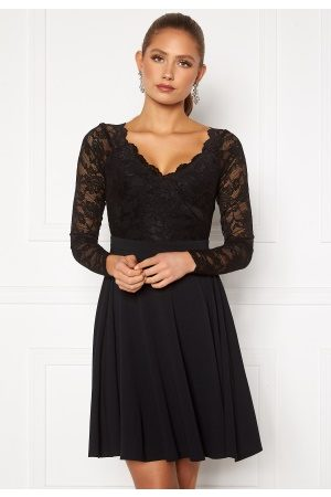 Goddiva Long Sleeve Lace Skater Dress Black XS (UK8)