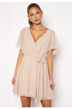 Goddiva Flutter Skater Dress Latte S (UK10)