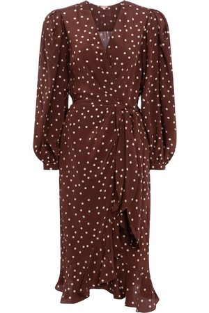 JOHANNA ORTIZ Dame Midikjoler - Geography Of Life polka-dot crêpe wrap dress