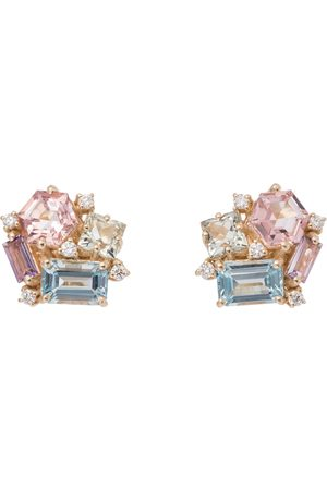 Suzanne Kalan Pastel Blossom 14kt gold earrings with amethysts, topaz and diamonds