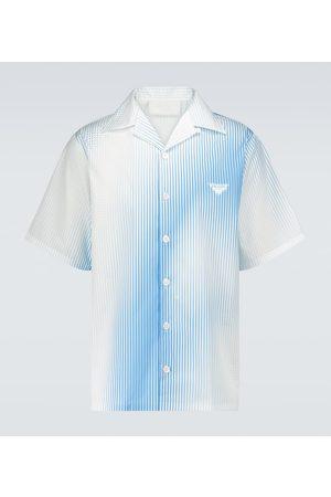 Prada Herre Kortermede - Striped cotton camp-collar shirt