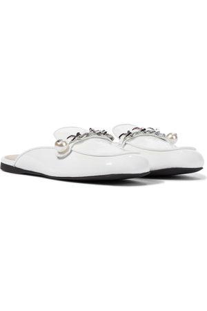 Miu Miu Embellished patent leather slippers