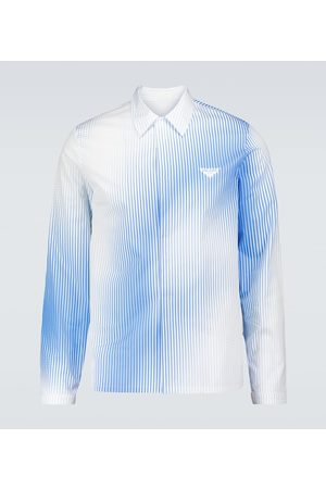 Prada Herre Langermede - Striped digital printed shirt