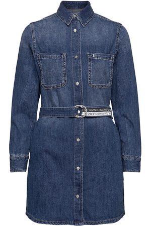 Calvin Klein Relaxed Shirt Dress Knelang Kjole Blå