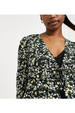 Fashion Union Blouse with waist tie in ditsy floral-Black