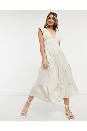 ASOS DESIGN Shirred waist button front tiered midi sundress in crinkle in oatmeal-Neutral
