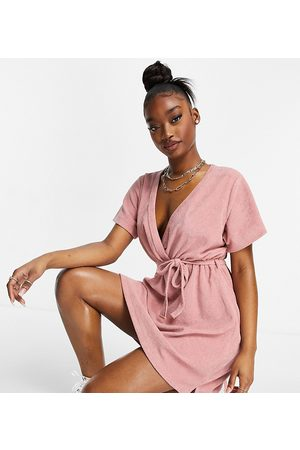 New Girl Order Exclusive terry towelling wrap mini dress in blush pink