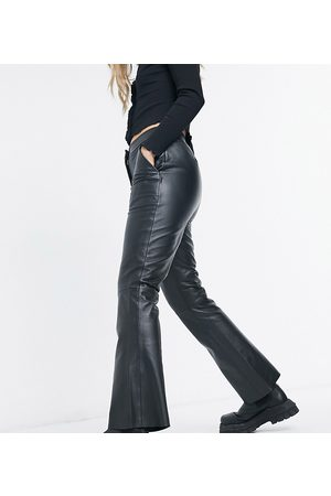 Reclaimed Vintage Inspired leather cropped flare trousers in black