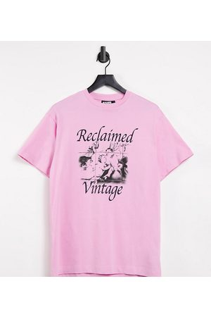 Reclaimed Vintage Inspired t-shirt in washed pink with cherub print in pink