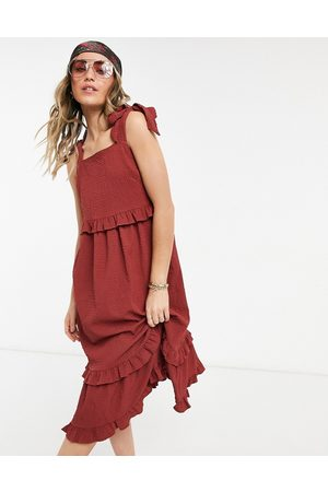 ASOS Textured ruffle swing midi sundress with tie straps in rust