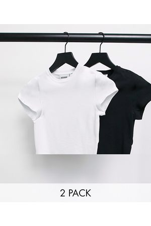 Weekday Sabra organic cotton 2 pack cropped t-shirt in black and white-Multi