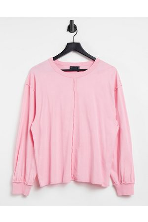 ASOS Dame Langermede - Oversized long sleeve t-shirt with seam detail in washed pink