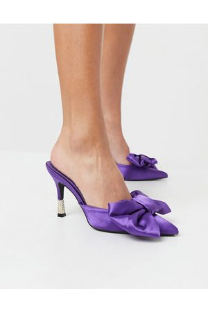 Public Desire Mules with bow detail in purple