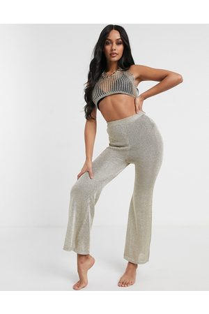 South Beach Sheer Knitted Flared Trousers-Gold
