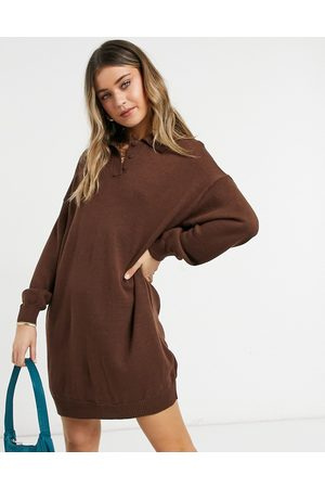 ASOS Mini dress with polo neck in brown