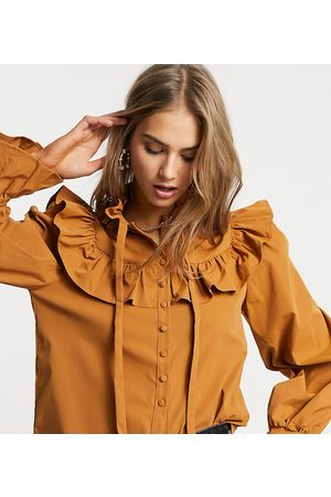 Fashion Union Blouse with frill collar-Brown