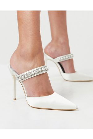 Truffle Collection Bridal heeled mules with pearl embellishment in white