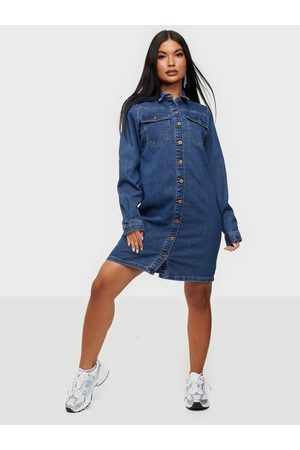 Pieces Dame Jeanskjoler - Pcperry L/S Denim Dress-Vi/Noos Bc