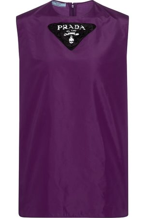 Prada Dame Singleter - Logo silk taffeta tank top