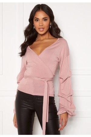 BUBBLEROOM Maggie knitted wrap top Dusty pink M
