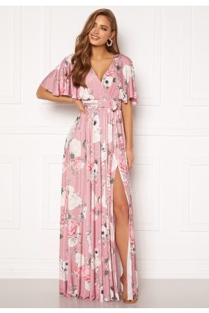 Goddiva Floral Flutter Sleeve Maxi Dress Blush L (UK14)