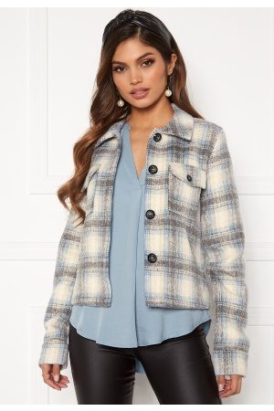 Only Lou Short Check Jacket Pumice Stone S