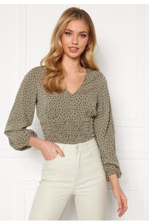 BUBBLEROOM Adelia ruched blouse Dusty green / Black / Dotted 36
