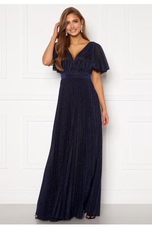 Goddiva Flutter Glitter Dress Navy S (UK10)