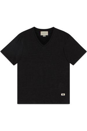 Gucci Herre Kortermede - Linen V-neck T-shirt with Double G