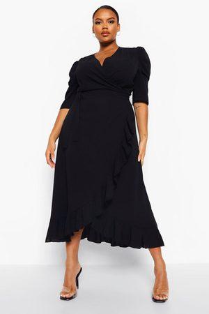 Boohoo Plus Ruffle Wrap Maxi Dress