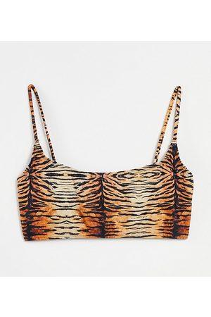 South Beach Mix and match plunge crop bikini top in tiger print-Multi