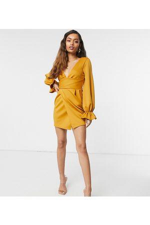 ASOS Petite wrap plunge mini dress with flute sleeve in mustard-Orange