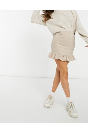 Miss Selfridge Bengaline mini skirt with frill hem in stone-Tan