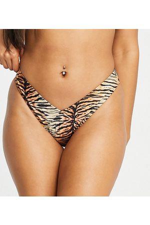 South Beach Dame Bikinier - Mix and match V high leg bikini bottom in tiger print-Multi