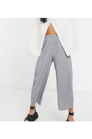 ASOS ASOS DESIGN Petite plisse culotte trousers in grey marl