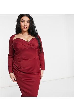 ASOS ASOS DESIGN Curve sweetheart neckline long sleeve midi dress in wine-Red