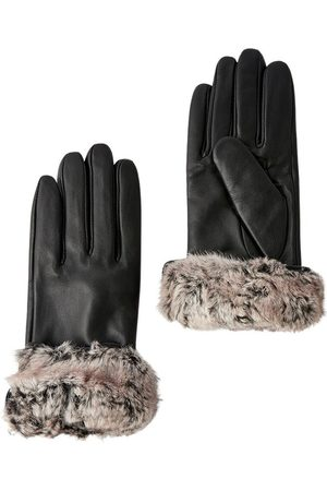 Accessorize Faux Fur Trim Leathe Gloves