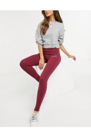 The Couture Club Outline logo highwaisted leggings-Red