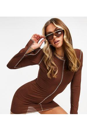 Missyempire Exclusive contrast stitch mini dress in chocolate-Brown