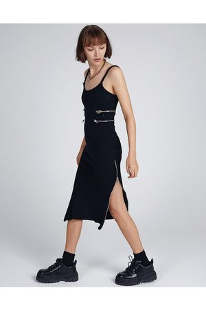The Ragged Priest Midi cami dress with zip cut outs in rib-Black