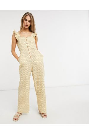Fashion Union Exclusive beach button down jumpsuit with frill detail in mustard wave print-Yellow