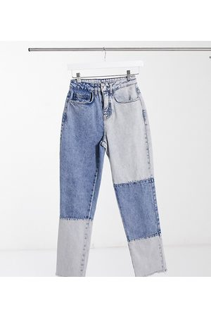 Reclaimed Vintage Inspired the '91 mom jean in patchwork blue