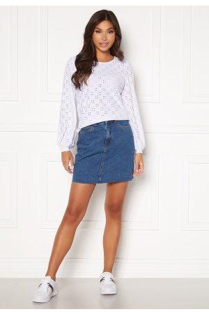 VERO MODA Dame Miniskjørt - Mikky Raw Denim Skirt Medium Blue Denim L