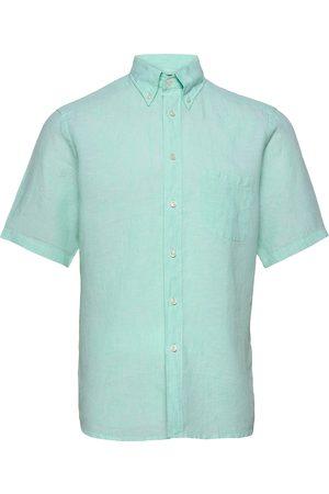Eton Herre Kortermede - Green Linen Short Sleeve Shirt Kortermet Skjorte