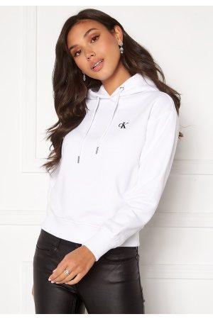 Calvin Klein Dame Hettegensere - CK Embroidery Hoodie Bright White M