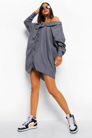 Boohoo Pinstripe Off Shoulder Shoulder Shirt Dress