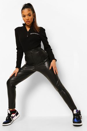 Boohoo Petite Premium Sculpting Leather Look Trousers