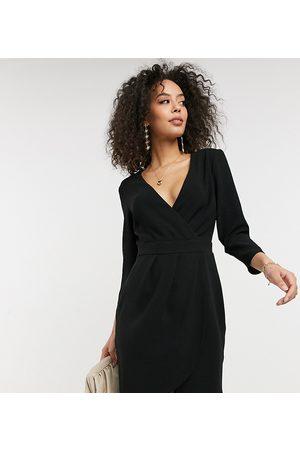 ASOS ASOS DESIGN Tall mini dress with wrap skirt in black