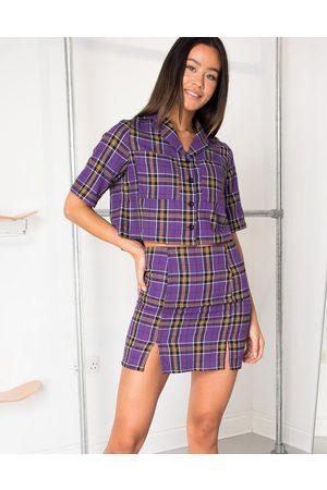 Daisy Street Mini skirt in vintage check co-ord-Purple