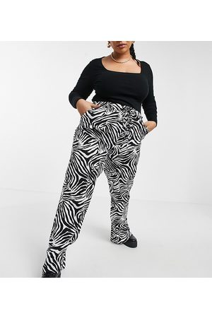 Native Youth Very wide leg trousers in zebra print-White